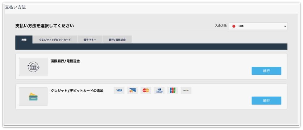 iForex入金方法選択画面