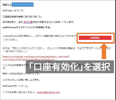 HotForex口座有効化メール