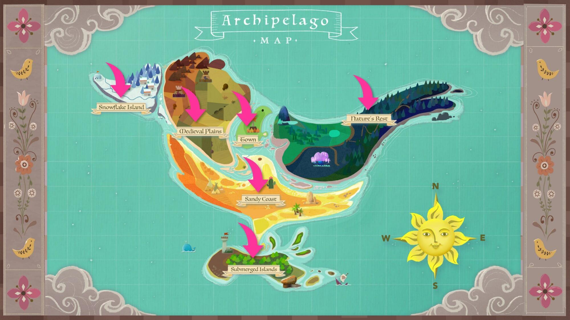 MyNeighborAlice内には6つの島がある